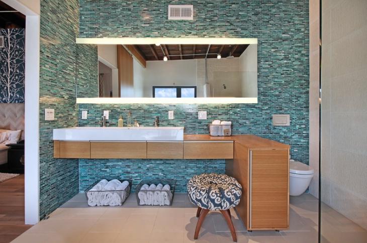 blue mosaic bathroom floor tiles