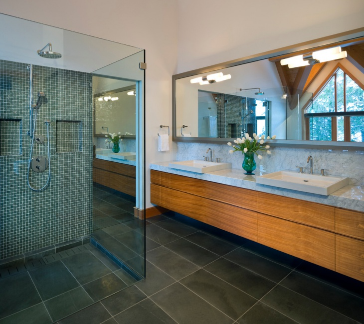 spring with mosaic bathroom floor tiles
