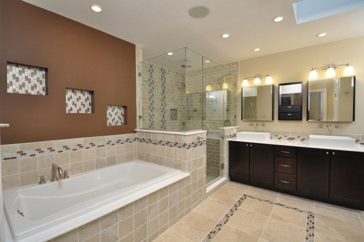 Brown and White Mosaic Bathroom