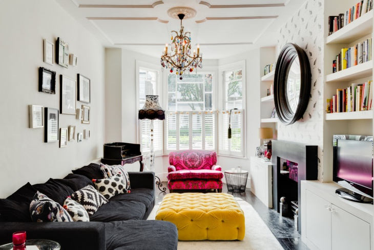 Colorful Living Room with Pink Chair