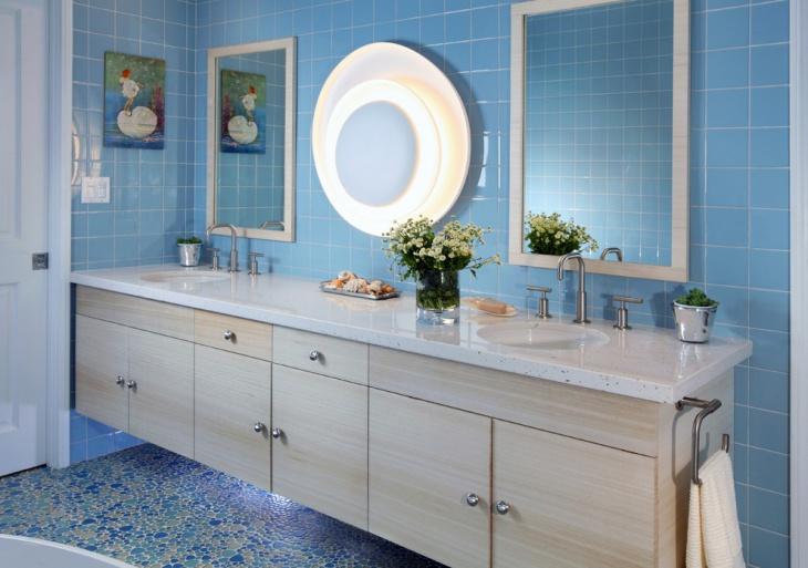 light blue mosaic tiles bathroom