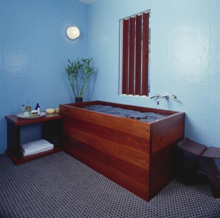 modern bathroom with wooden bath tub