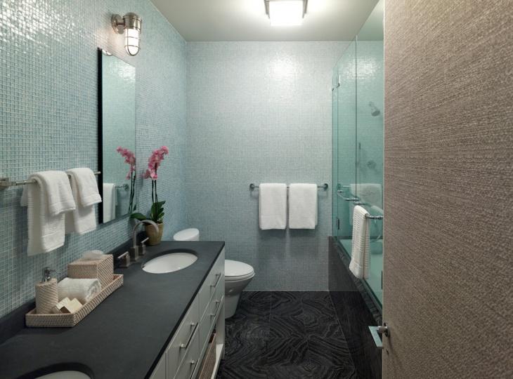 grey tile mosaic bathroom design