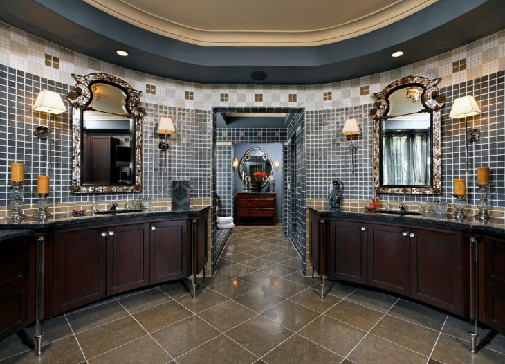 Old Mosaic Oval Bathroom with Vanities