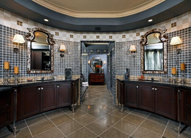 old mosaic oval bathroom with vanities