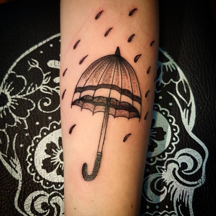 Vintage Umbrella Tattoo Design