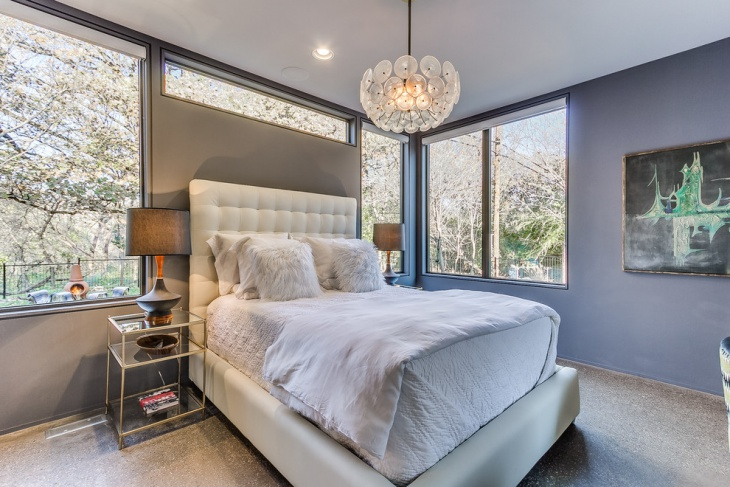 Dark Grey Master Bedroom with White Bed