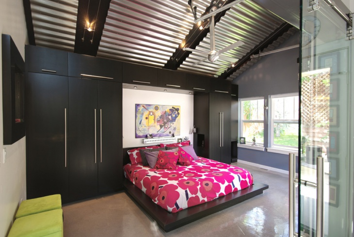 Colorful Bedroom with Steel Ceiling