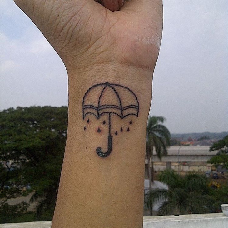 Little Umbrella Wrist Tattoo