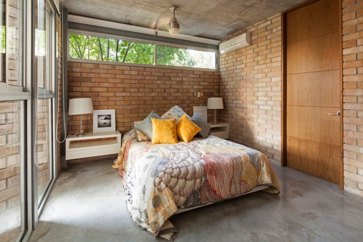 Sophisticated Bedroom with Brick Wall
