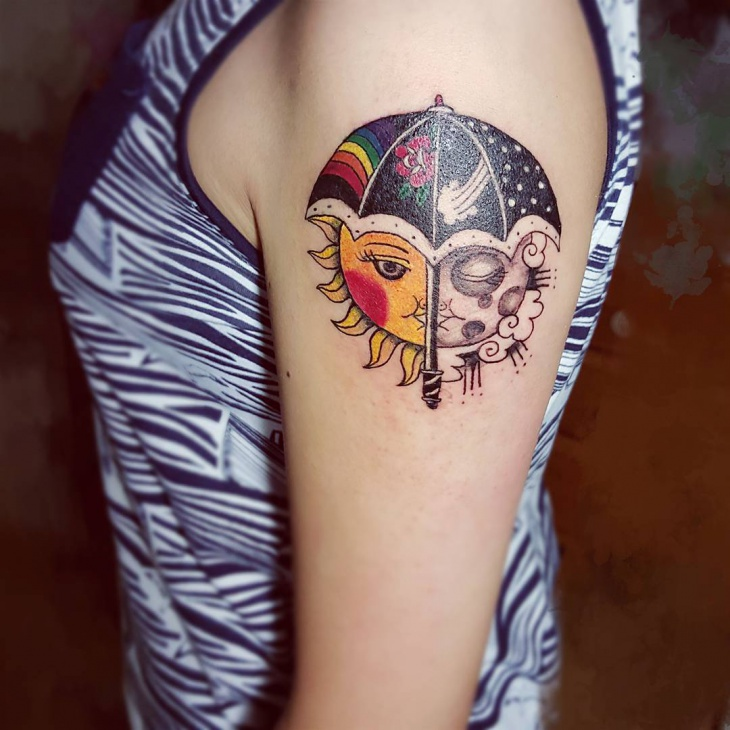 Rainbow Umbrella Tattoo for Women