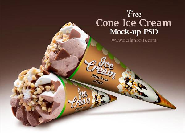 Free Cone Ice Cream Packaging Mock-up PSD