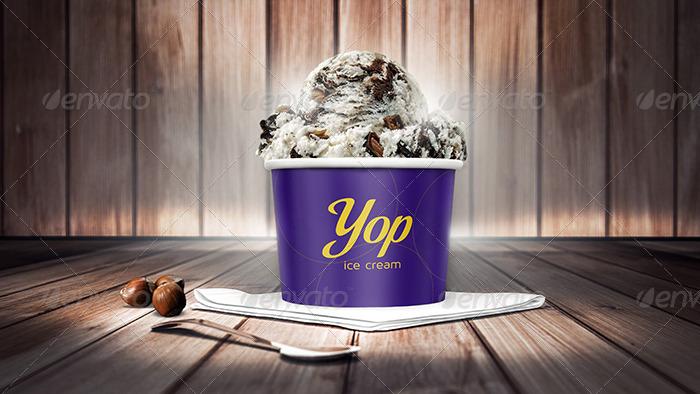 photorealistic ice cream cup mock ups