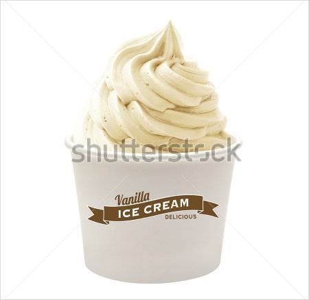 Soft Vanilla Ice Cream In Paper Cup on white background