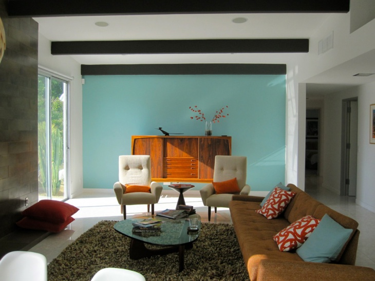 Superieur Blue Wall Retro Living Room
