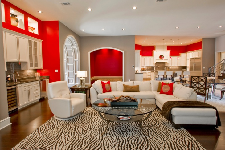 red and white luxurious living room