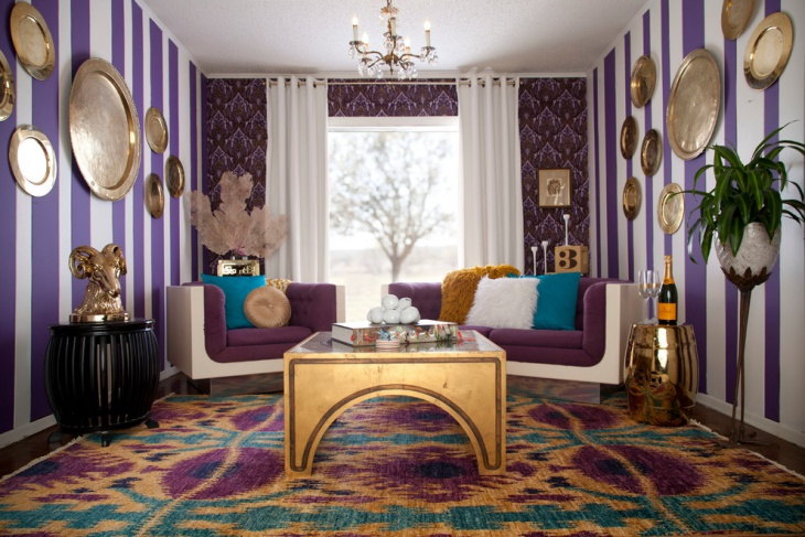 19+ Purple And Gold Living Room Designs, Decorating Ideas