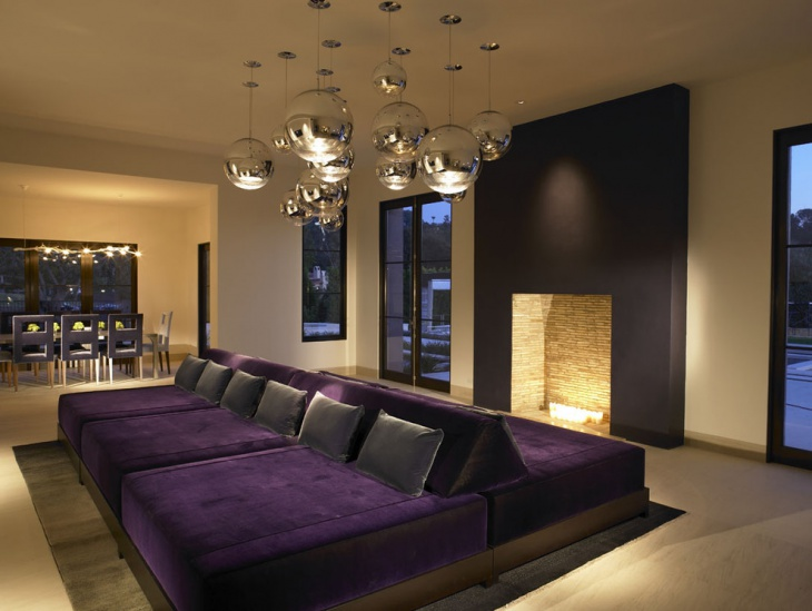 19 purple and gold living room designs decorating ideas for Black and purple living room ideas