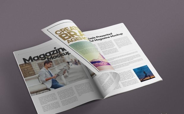 photorealistic psd magazine mock up with smart layers