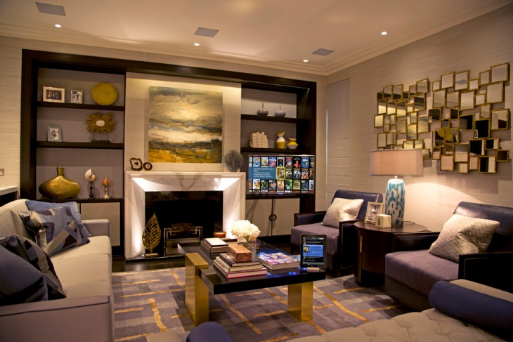 elegant family room with purple and gold carpet