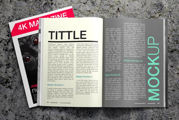 free magazine 4k mockup