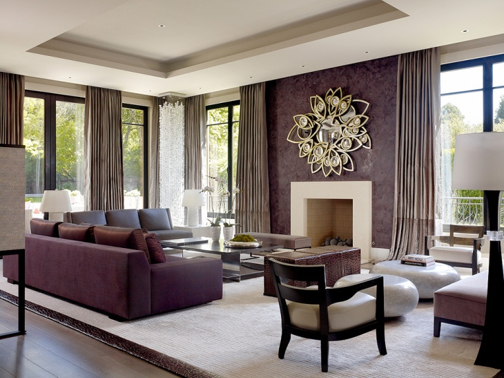gorgeous living room with purple sofa