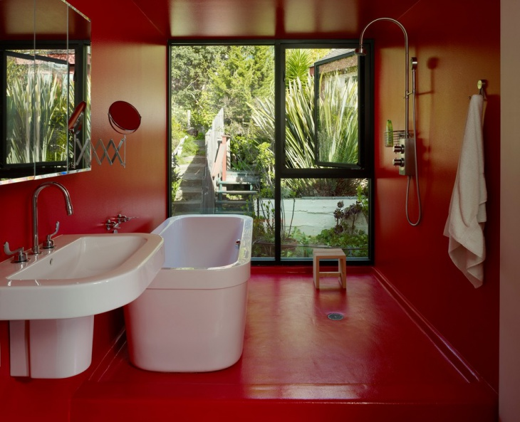 Modern Red Bathroom Design