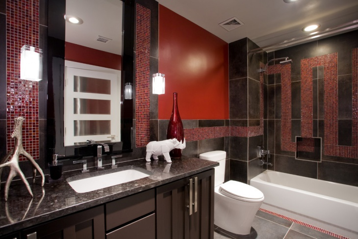 Contemporary Red Bathroom Tiles