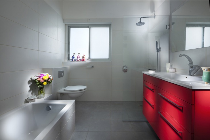 Elegant Red Cupboard Bathroom