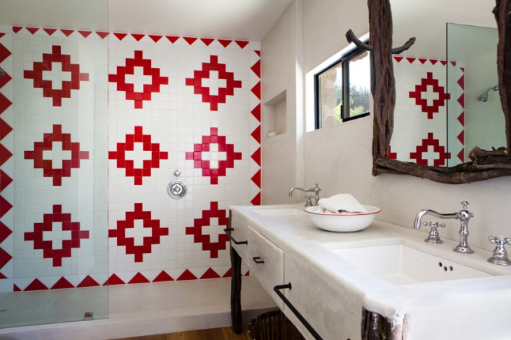 Patterned Wall Bathroom with Double Vanity