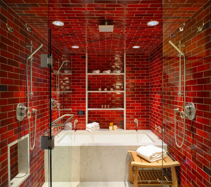 Small Bathroom with Brick Patterned Wall