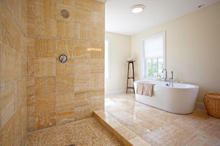 Spacious Bathroom with White Soaking Tub