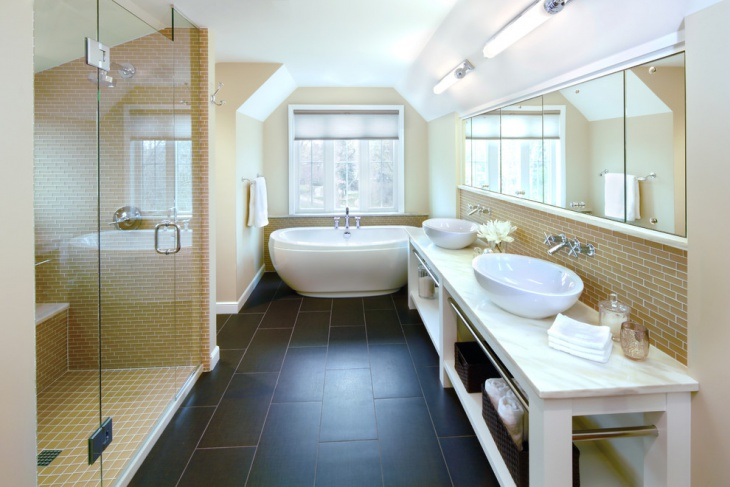 Modern Bathroom with Large Mirrors