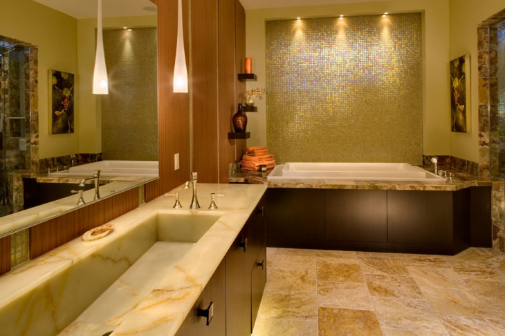 Luxurious Bathroom with Enclosed Bath Tub