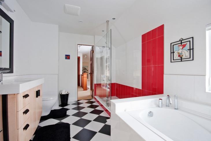 Cozy Glass Shower with Bold Tiles