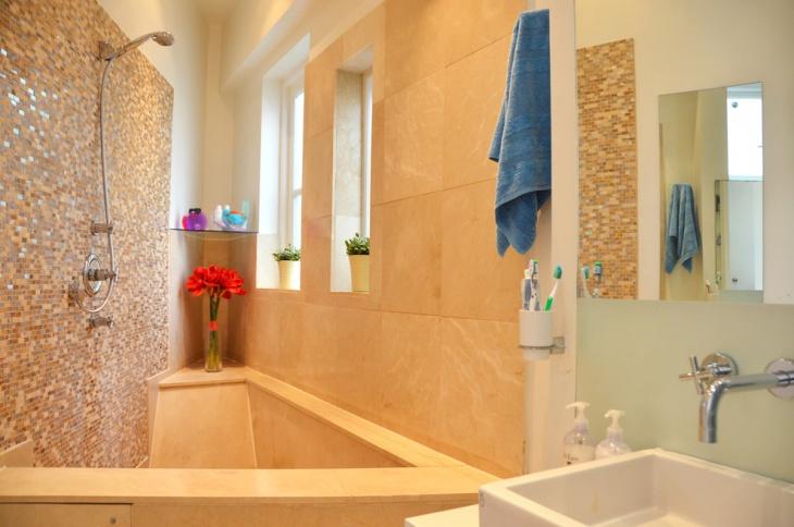 Small Gold Tile Bathroom Idea