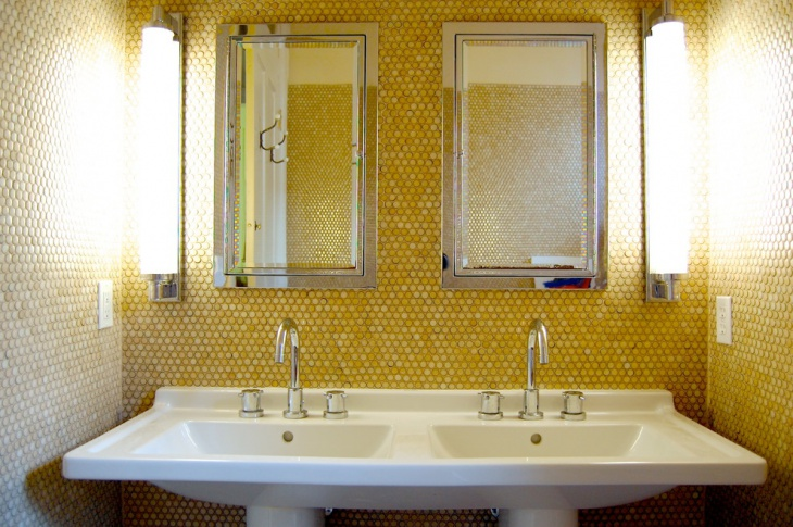 16 gold tile bathroom designs decorating ideas design for Bathroom ideas yellow tile