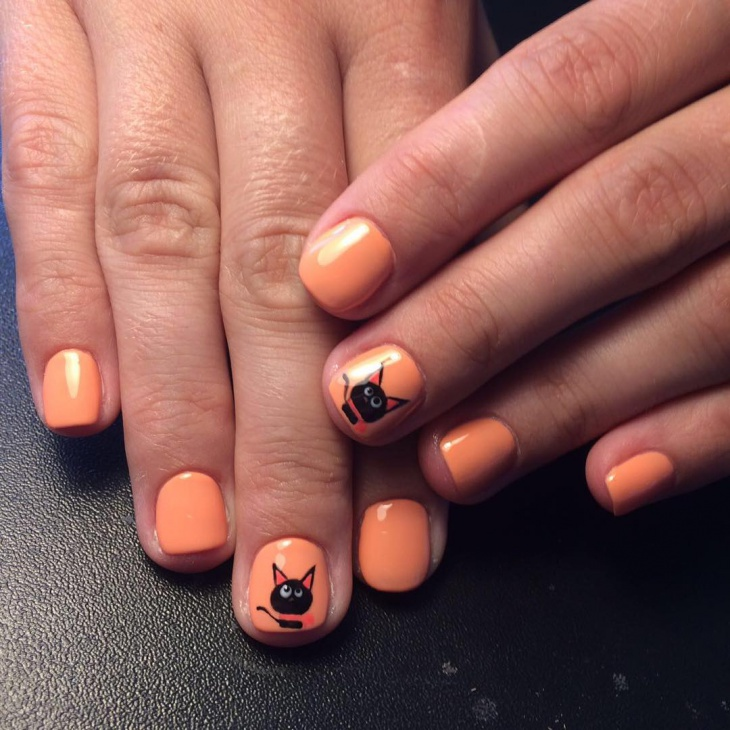 Orange Kitty Nail Art
