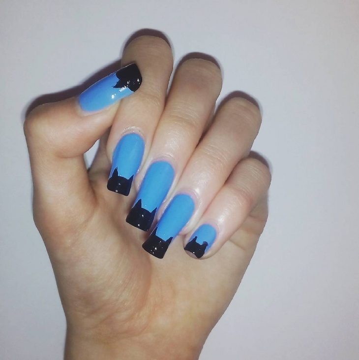 Blue Color Nail Art for Long Nails