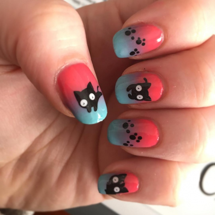 21+ Cat Nail Art Designs, Ideas