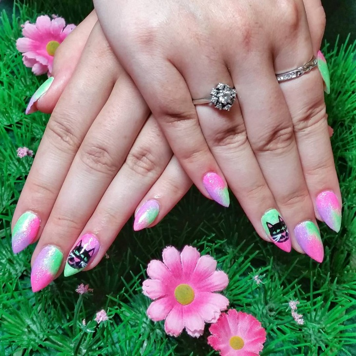 Pink and Green Sparkle Nail Art