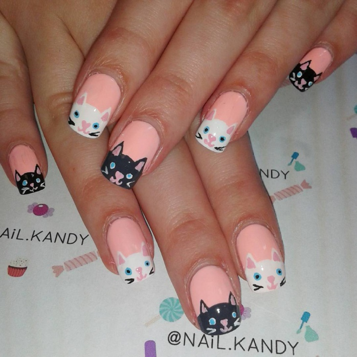 Peach Color Nail Art Design