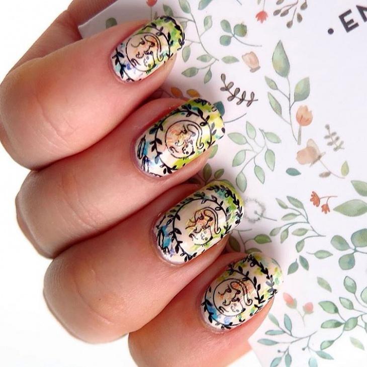 Watercolor Stamping Nail Art