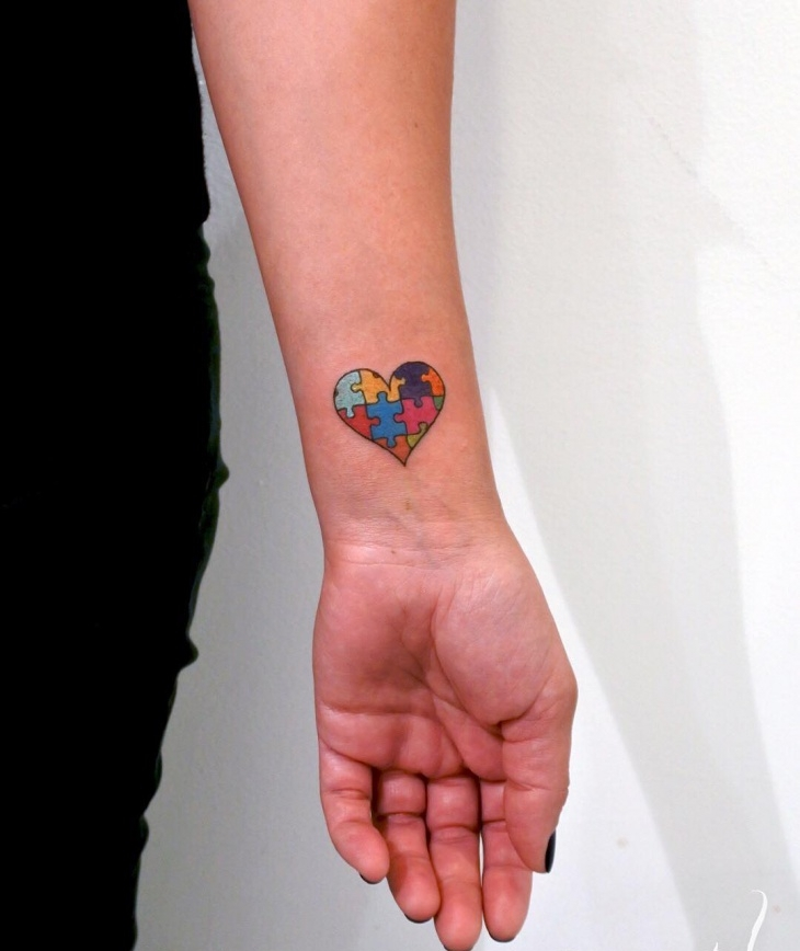 Autism Heart Shaped Tattoo Design