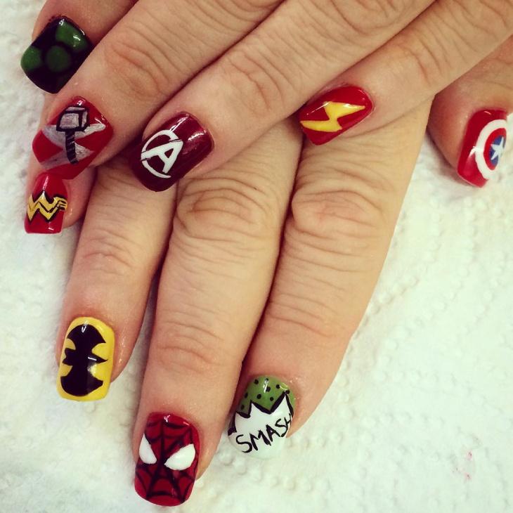 Avengers Nail Art for Acrylic Nails
