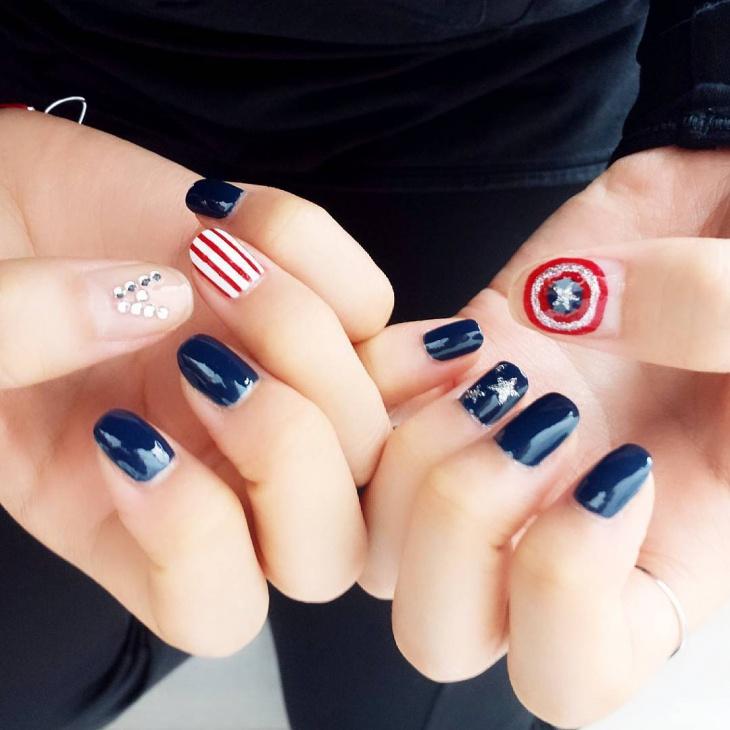 Captain America Nail Design