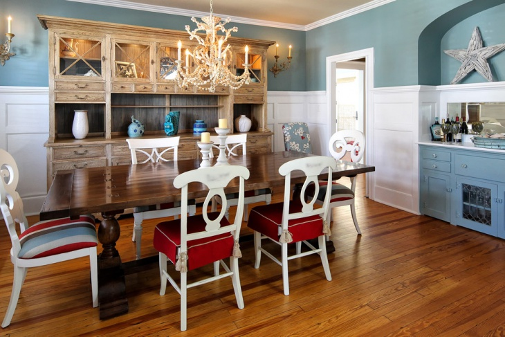 Eclectic Dining Room with Blue Wall Paint