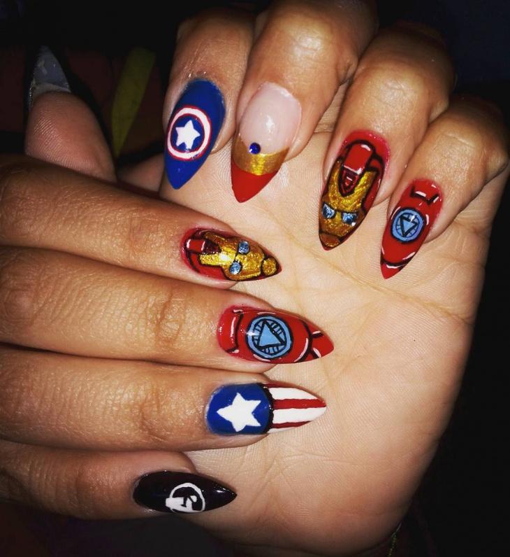 Avengers Glitter Nail Art