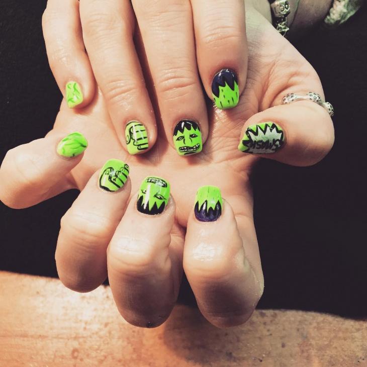 Green Marvel Avengers Nail Art