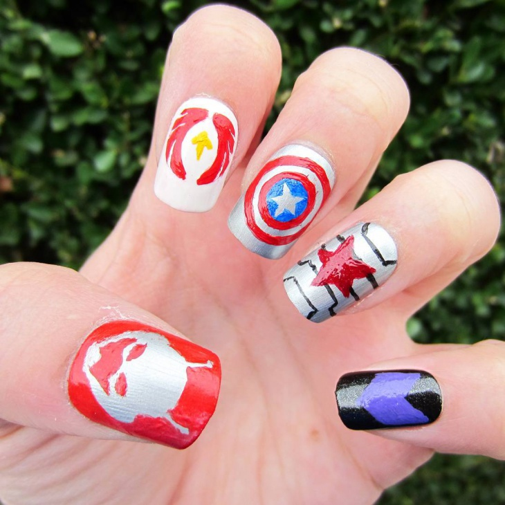 Red and Silver Marvel Nail Art